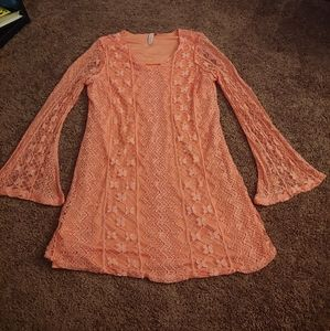 Red Camel orangish/pink bell sleeve lace dress